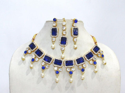 Dark Blue Color Square Stone Pearl Drop Necklace Set - SMCN1204