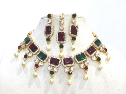 Maroon and Green Square Stone Pearl Drop Necklace Set - SMCN1205