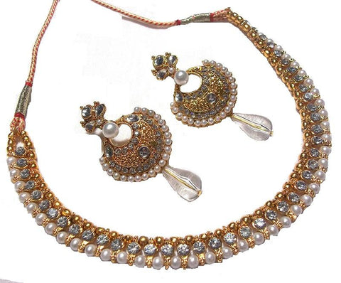 Golden and Off White Pearl Color Necklace Set - SMCN126