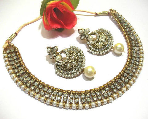 Golden Copper and Off White Pearl Color Necklace Set - SMCN158