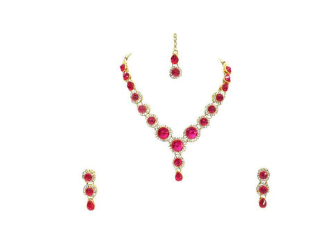 Dark Pink Color Stone Round Necklace Set - SMCN165