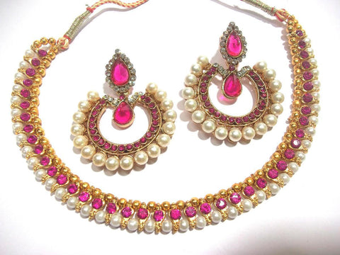 Golden and Dark Pink Color Necklace Set - SMCN174