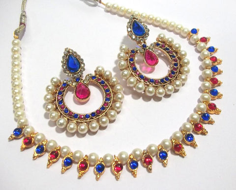 Pink and Blue Color Alloy Necklace Set - SMCN180
