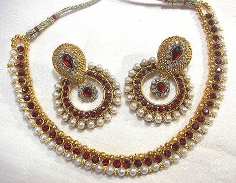 Golden and Maroon Color Necklace Set - SMCN202