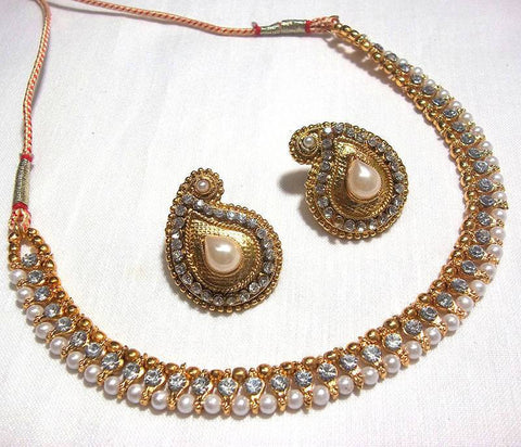 Golden and Off White Pearl Color Necklace Set - SMCN207