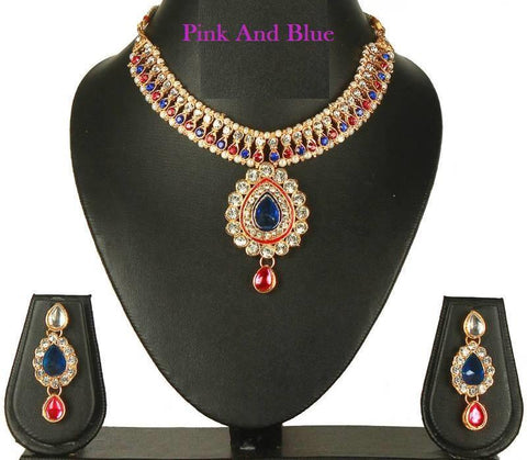Pink and Blue Color Alloy Necklace Set - SMCN222
