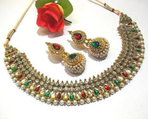 Golden and Multi Color Necklace Set - SMCN245