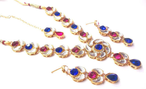Pink and Blue Color Alloy Necklace Set - SMCN308