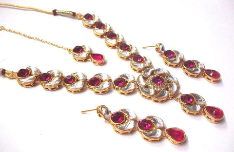 DarkPink Color Alloy Necklace Set - SMCN326