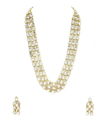 White Color 3Line Kundan Necklace Set - SMCN32