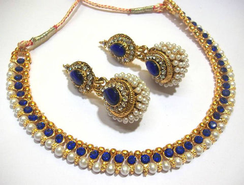 Golden and Dark Blue Color Necklace Set - SMCN52