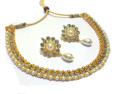 Golden and Off White Pearl Color Necklace Set - SMCN53