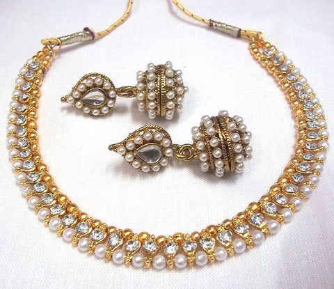Golden and White Color Necklace Set - SMCN72