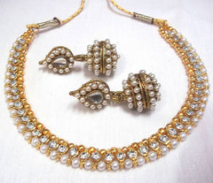 Golden and White Color Necklace Set