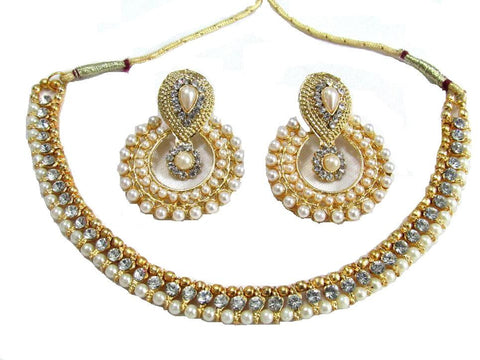 Golden and Off White Pearl Color Necklace Set - SMCN73