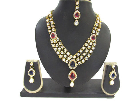 Pink and Blue Color Dulhan Kundan Necklace Set - SMCN76