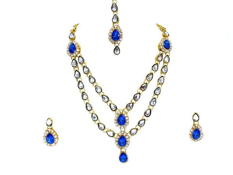 Dark Blue Color double line Kundan Necklace Set - SMCN81