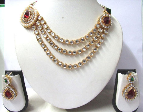 Golden and OffWhite Color Alloy Necklace Set - SMCN927