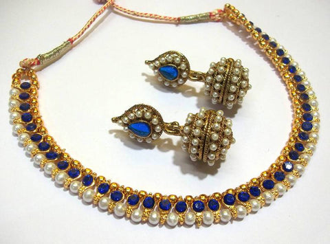 Golden and Dark Blue Color Necklace Set - SMCN959