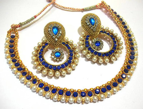 Golden and Dark Blue Color Necklace Set  - SMCN960