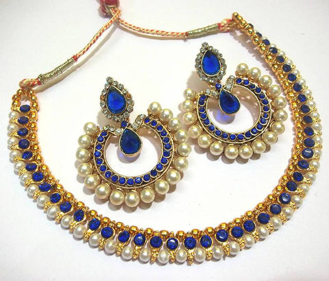 Golden and Dark Blue Color Necklace Set  - SMCN961