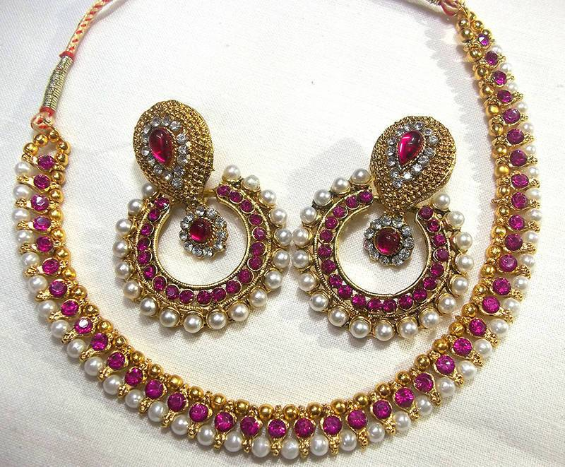 Golden and Dark pink Color Necklace Set