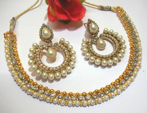 Golden and Off White Pearl Color Necklace Set - SMCN971