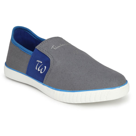 Grey and Blue Color Canvas Men Slpon Sneaker - SN-GRY-BLU