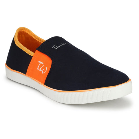 Navy and Orange Color Canvas Men Slpon Sneaker - SN-NAVY-ORNGE