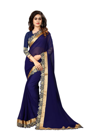 Navy Blue Color Georgette Saree - SN20