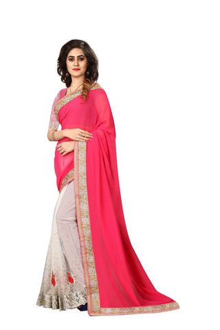 Off White And Peach Color 60Gm Georgette And Nylon Glitter Net Saree - SN21