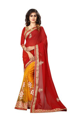 Buy Maroon And Yellow Color Georgette And Nylon Mono Net Saree