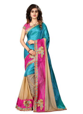Multi Color Paper Silk Fancy And Banglori Silk Saree - SN45