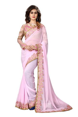 Baby Pink Color Heavy Bemberg Saree - SN70