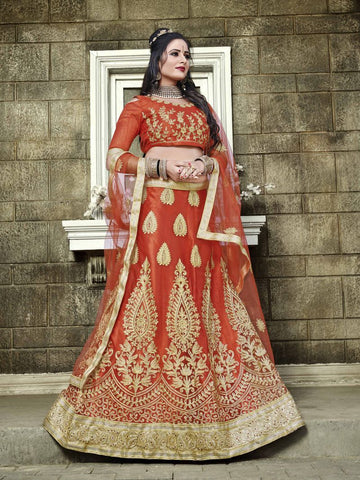Red Color Net Semi Stitched Lehenga - SNN22001