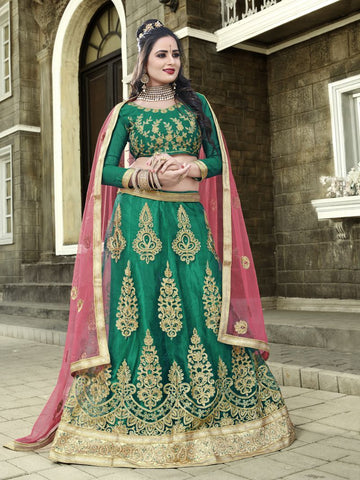 Green Color Net Semi Stitched Lehenga - SNN22002
