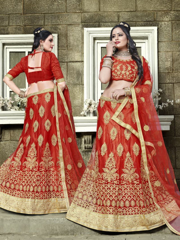 Red Color Net Semi Stitched Lehenga - SNN22003