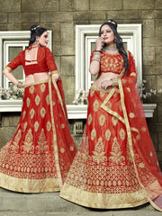 Buy Red Color Net Semi Stitched Lehenga