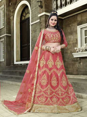 Peach Color Net Semi Stitched Lehenga - SNN22005