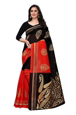 Red and Black Color Bhagalpuri Saree - SNPR501A