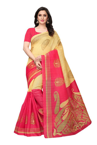 Beige and Peach Color Bhagalpuri Saree - SNPR501C