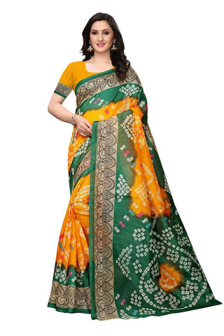 Mustard and Green Color Bhagalpuri Saree - SNPR503A