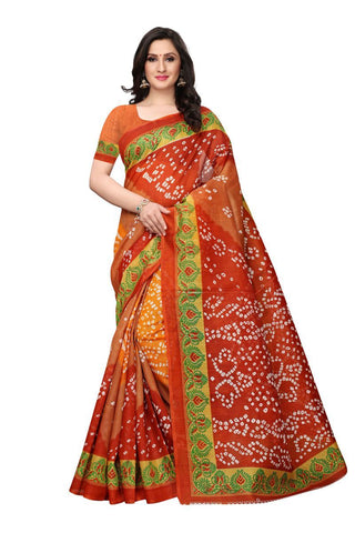 Brown and Rust Color Bhagalpuri Saree - SNPR504A
