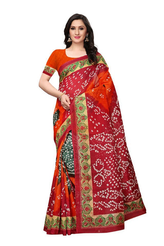 Orange and Maroon Color Bhagalpuri Saree - SNPR504B