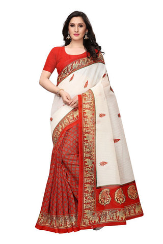 White and Red Color Bhagalpuri Saree - SNPR509A
