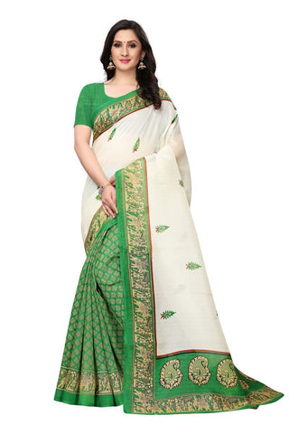 White and Green Color Bhagalpuri Saree - SNPR509B