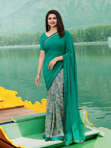 Teal Green Color Georgette Saree - SNSKRT19504