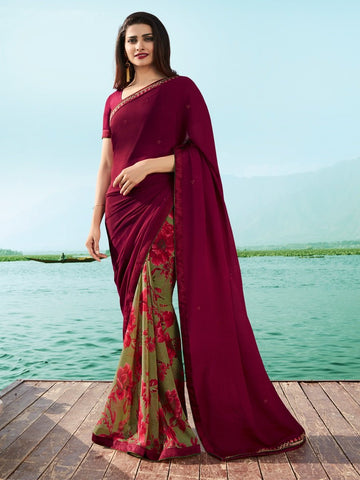 Maroon  and Olive Green Color Georgette Saree - SNSKRT19505