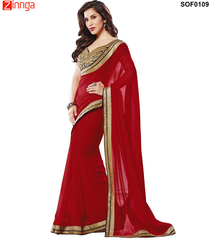 SRP FASHION- women's Beautiful Georgette saree  - SOF0109