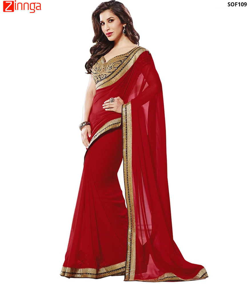 SRP FASHION- women's Beautiful Georgette saree  - SOF109